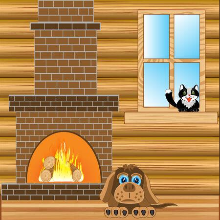 calentador: Ilustraci�n de la habitaci�n con el calentador y las mascotas Vectores