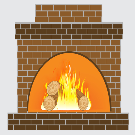 firewood: Illustration of the stove from brick and burning firewood
