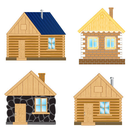 insulated: Small buildings on white background is insulated