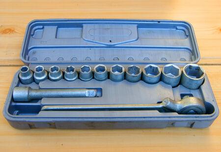 Tool box, tools kit detail close up photo
