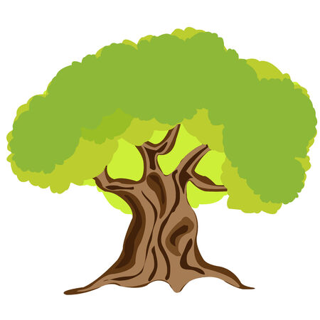 Illustration big tree on white halitosis is insulated