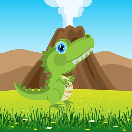 glade: Cartoon of the pangolin dinosaur on glade with flower Illustration