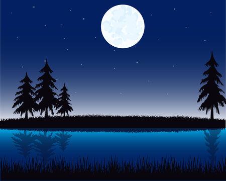 Vector illustration of the night landscape on river
