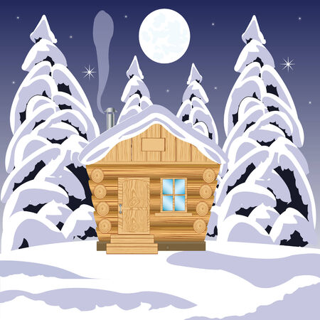 Illustration of the wooden building in winter wood