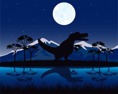 Dinosaurs appears in beautiful landscape at night Illustration