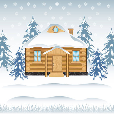 Vector illustration of the building in wood in winter Vector