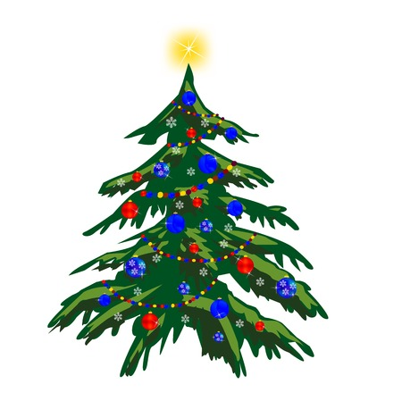 natty: Vector illustration of the festive fir tree with toy