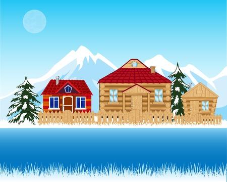 Vector illustration village de Riverside winter.Winter paysage