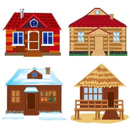 blanching: Vector illustrations several lodges on white background Illustration