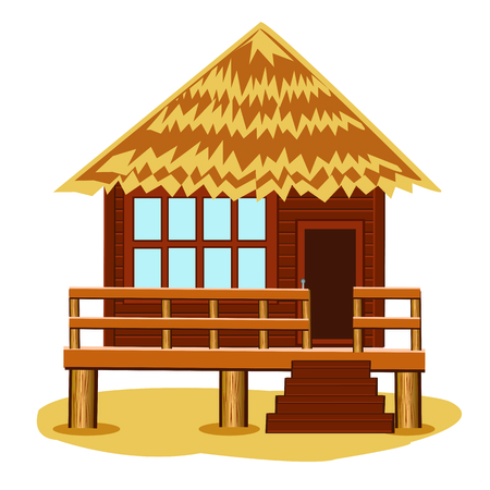 lodge: Tropical bungalow on pile.Vector illustration of the lodge on pile