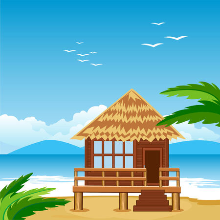 Vector illustration of the lodge on beach beside epidemic deathes