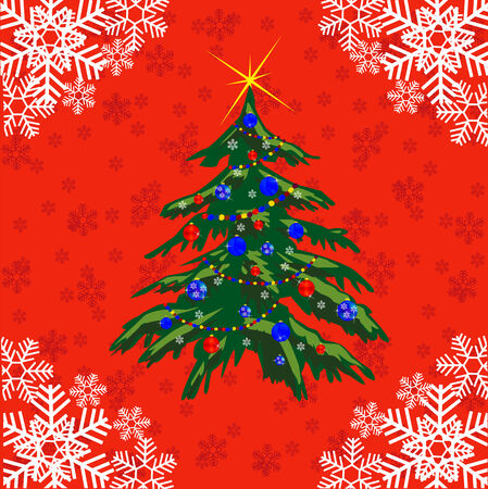 fir tree red: New years fir tree on red background