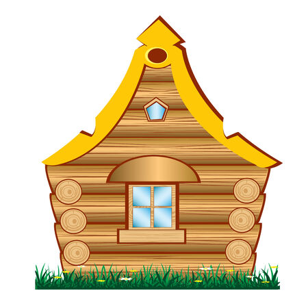 Unusual wooden lodge on herb with flower Illustration
