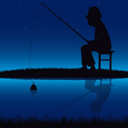 weaken: Vector silhouette of fishermen fish at the pond.