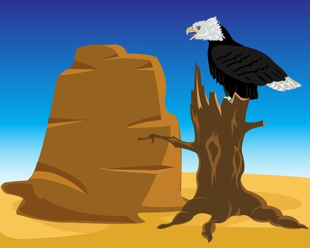 untouched: Wild landscape desert with eagle sitting on tree Illustration