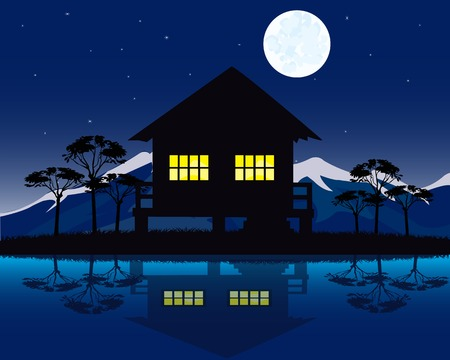 lake dwelling: Night landscape with house beside yard.House on nature Illustration