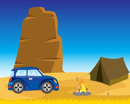 deserted: Vector illustration of the wild landscape and tents with car