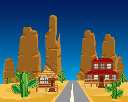uninhabited: Vector illustration of the car road in desert
