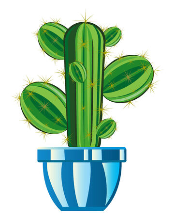 prickly: Cartoon of the prickly cactus in pot on white background Illustration