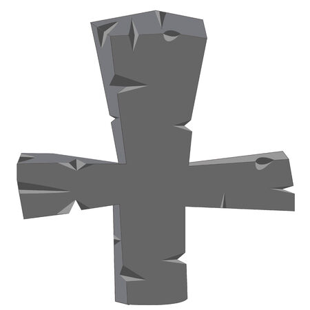 ghostly: Grave cross from stone on white background insulated