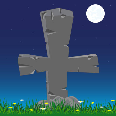 Grave with stone cross moon in the night Illustration