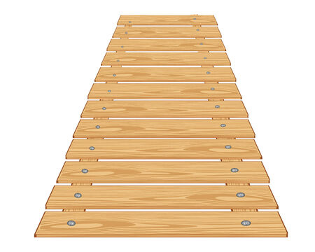 flooring: Wooden flooring from boards on white background insulated Illustration