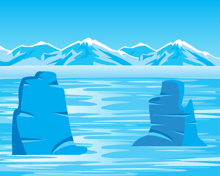 arctic landscape: Vector illustration of the arctic landscape and iceberg