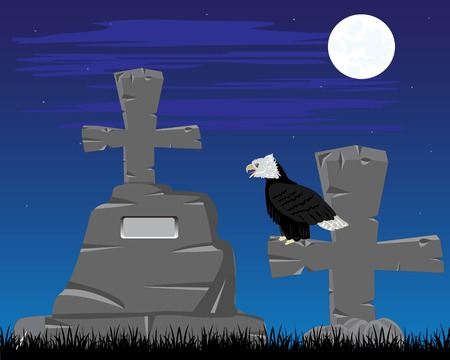 dawning: Vector illustration graveyard with grave in the night Illustration
