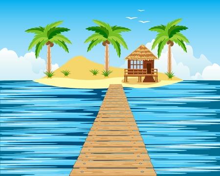 Isla tropical en el océano y el puente de madera a él Ilustración de vector