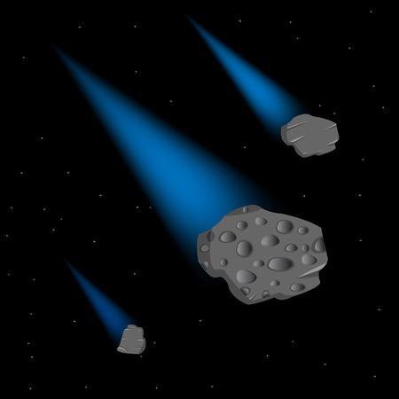meteor crater: Vector illustration flying comets in open cosmos