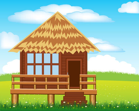 Vector illustration of the small lodge on glade