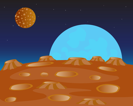 uninhabited: Red planet and her fcompanion in outer spaces Illustration