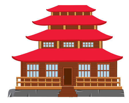property of china: Japanese architecture on white background is insulated Illustration
