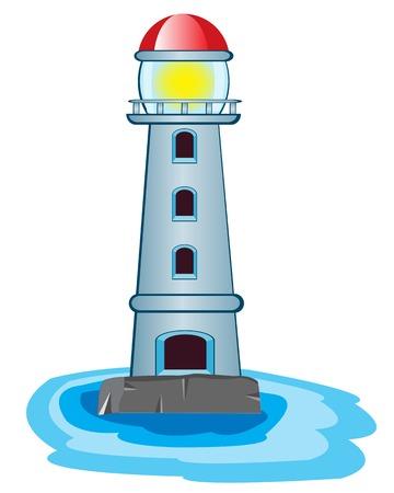 coast guard: Ilustraci�n del vector del faro en el fondo blanco Vectores