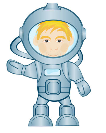 space suit: Spaceman in space suit on white background is insulated Illustration