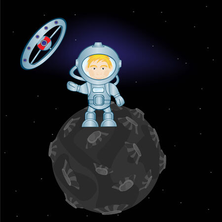 space suit: Spaceman in space suit on distant planet