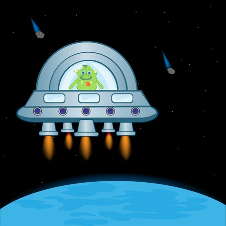 nave: Extraterrestrial spaceship in cosmos beside planets.Vector illustration Illustration