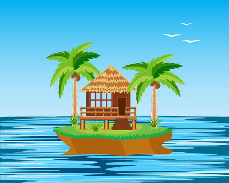 coco: Tropical island in ocean and bungalow with palm