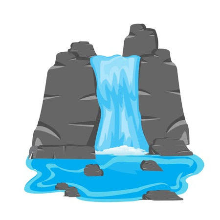 Vector illustration of the waterfall on white background is insulated Ilustracja