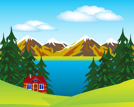 lake house: Vector illustration of the year landscape with house beside lake Illustration