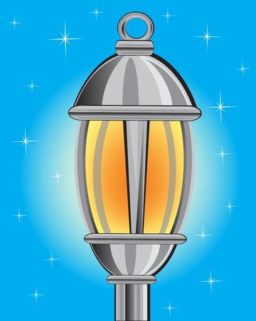 уличный фонарь: Векторная иллюстрация фонаря в ночное время