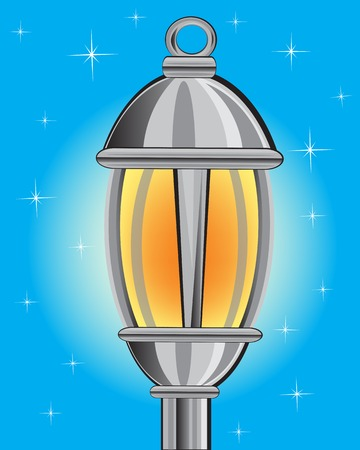phosphorescence: Vector illustration of the street lamp in the night