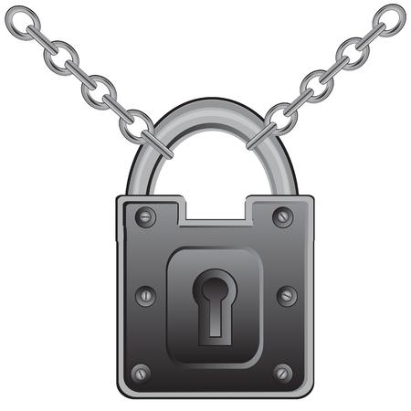 defensive: Big door lock on chain from metal