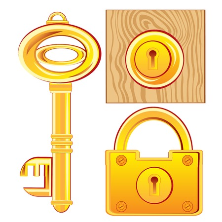 Gold key and lock on white background is insulated Vector
