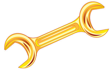 Illustration of the wrench from gild on white background Vector
