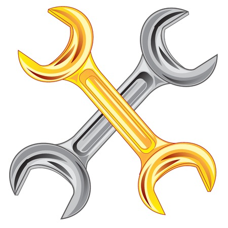 Two wrenches on white background is insulated Vector