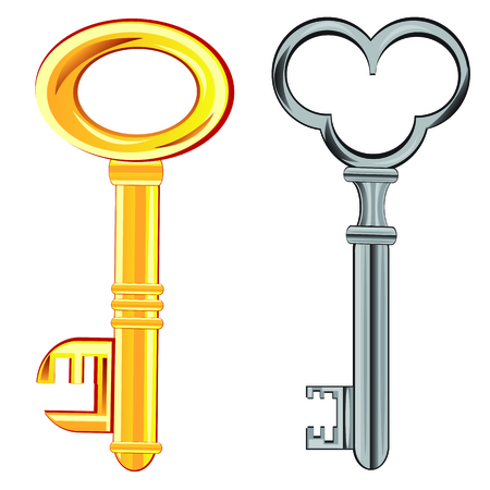 Two keys from lock on white background is insulated Vector