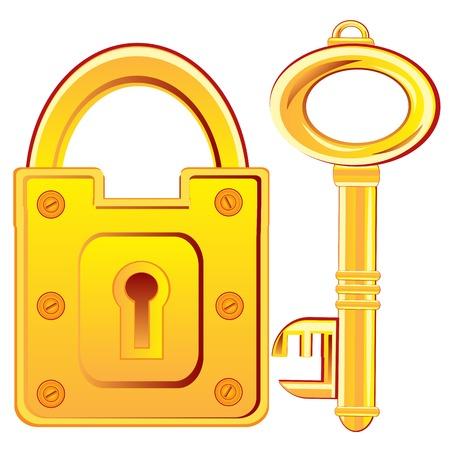 door lock: Door lock and key from gild on white background