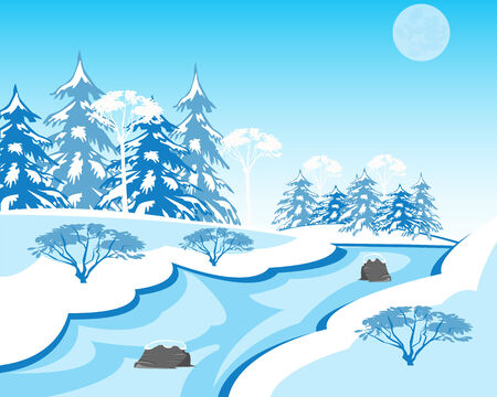 copse: Vector illustration of the winter landscape with stream and wood Illustration