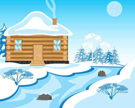 solitary: Vector illustration solitary building beside icy stream